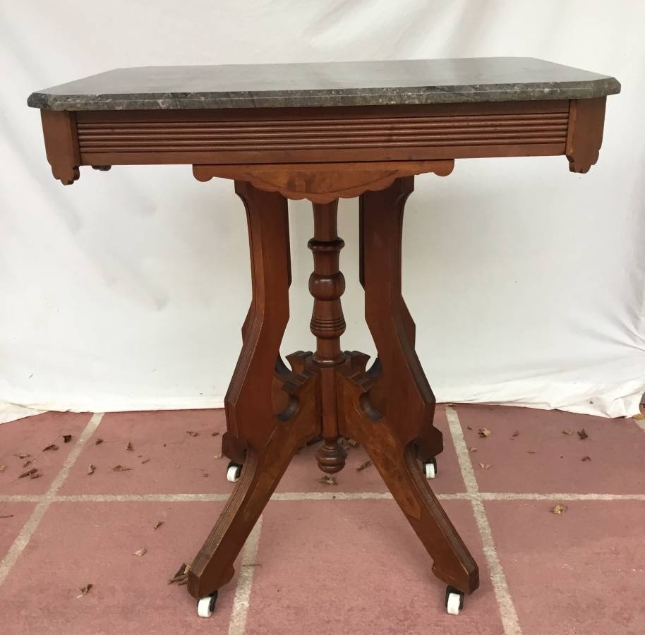 Antique Marble Top Table on Mahogany Victorian Style Base