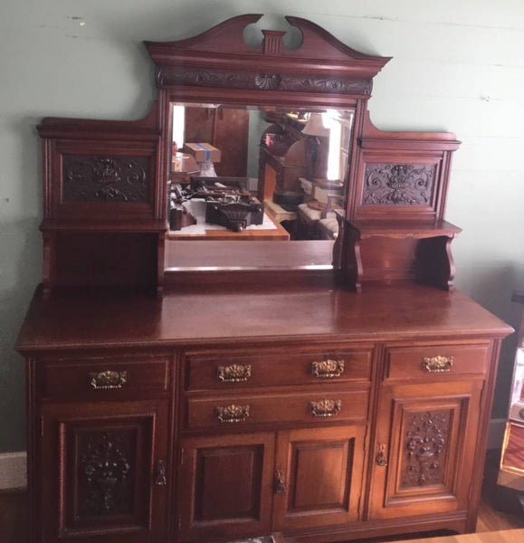 1880's VICTORIAN ENGLISH OAK BEVELED MIRROR SIDEBOARD