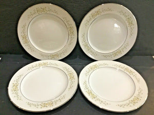 "SET OF (4) CROWN VICTORIA CHINA CAROLYN 7-5/8"" SALAD PLATES"