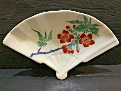 PORCELAIN FAN SHAPED PLATE WITH FLORAL DESIGN 7.75""
