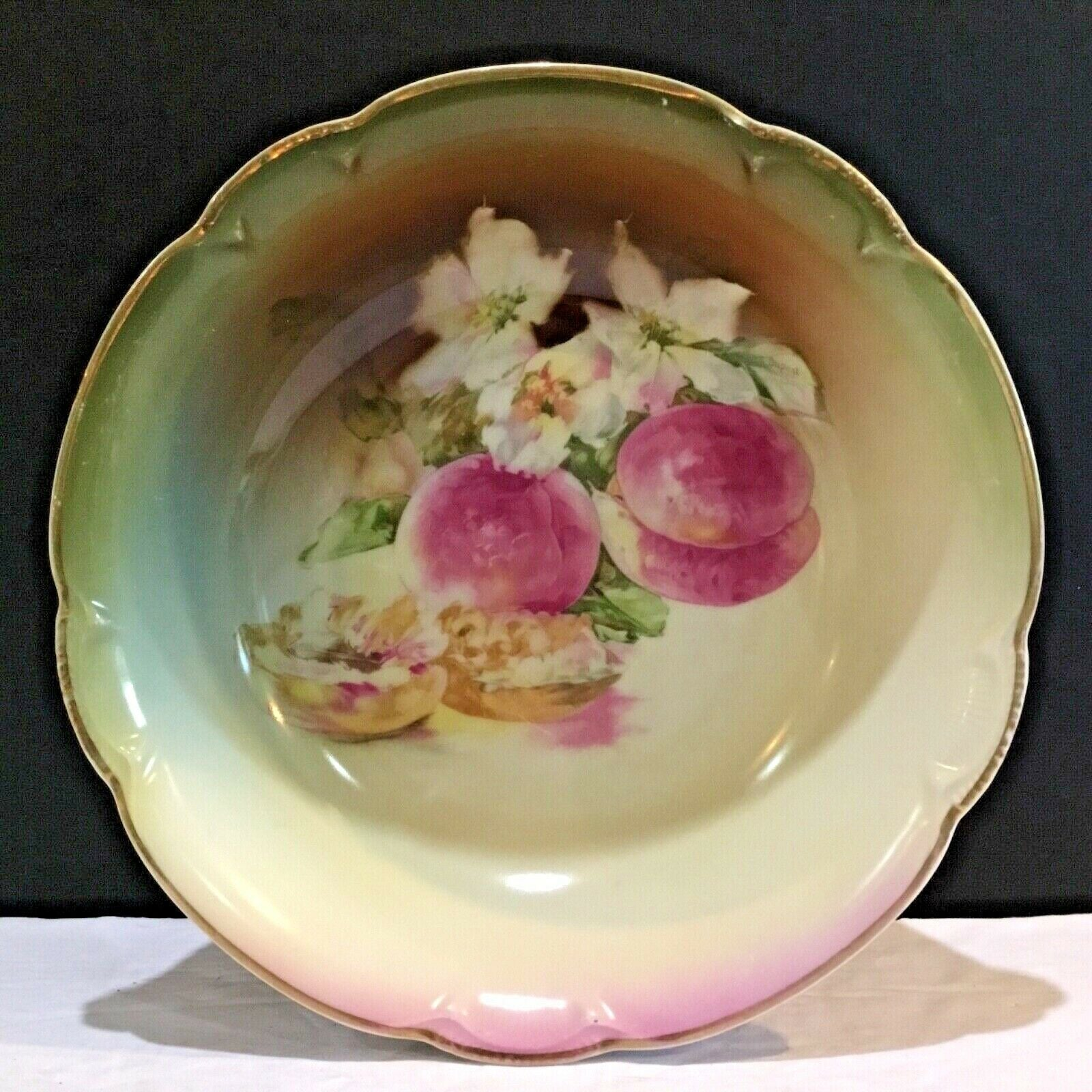 "CHARLOTTE JHR BAVARIA PORCELAIN HANDPAINTED 10.5"" BOWL WITH GOLD RIM"