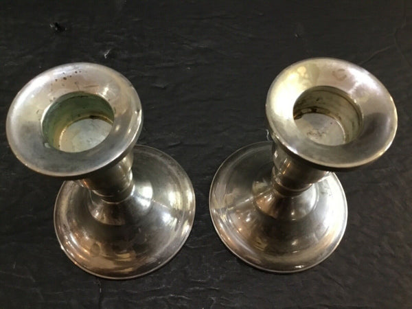 SET OF (2) DUCHIN CREATIONS STERLING SILVER WEIGHTED CANDLE HOLDERS 3.75""
