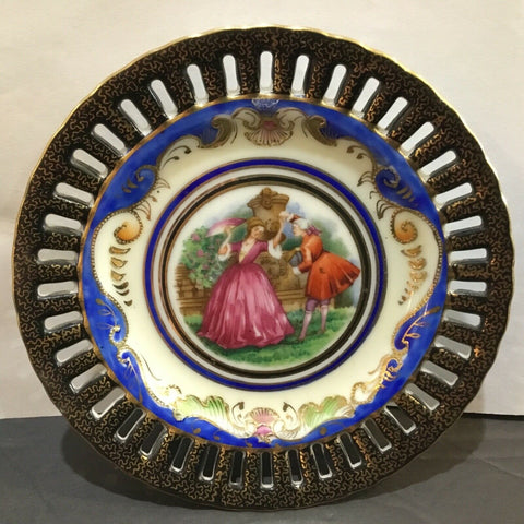 RETICULATED PORCELAIN COURTING COUPLE PLATE MADE IN OCCUPIED JAPAN