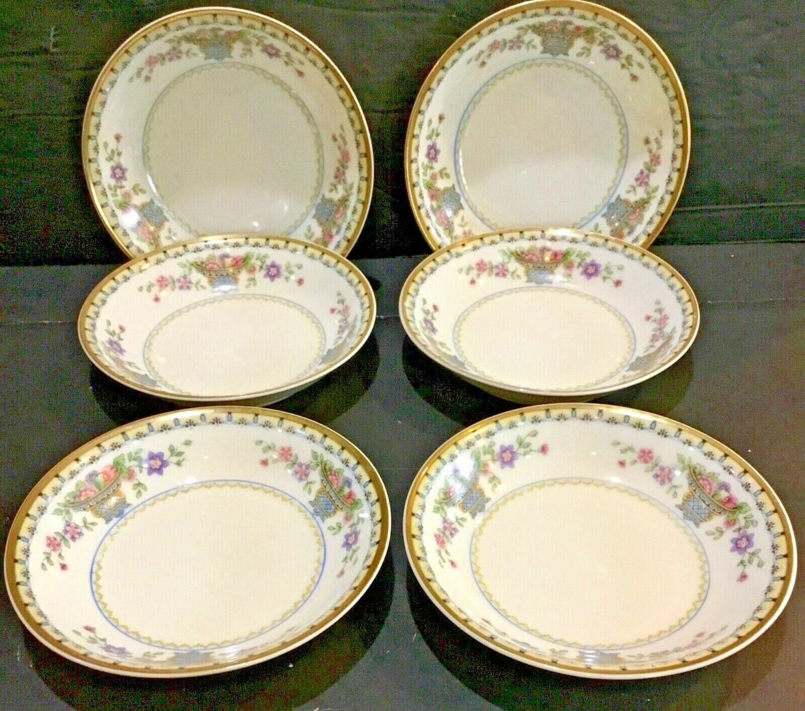 "SET OF (6) B & CO. FRANCE BERNARDAUD LIMOGES FLEURETTE 5.5"" BERRY BOWLS"