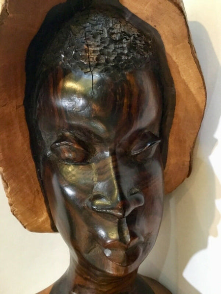 Hand Carved Wooden African Bust Sculpture