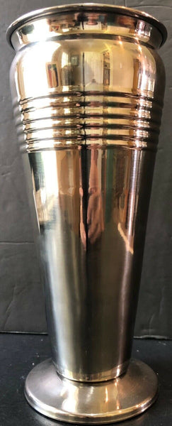 DECORATIVE SILVER METAL VASE APPROXIMATELY 9""