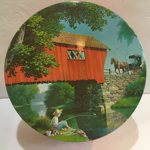 RED COVERED BRIDGE SCENE METAL TIN FILLED WITH BUTTONS, SNAPS AND MISC ITEMS