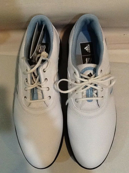 NEW ADIDAS WOMENS GOLF SHOES COMFORT STRIPE SIZE 8.5 WHITE W/ BABY BLUE STRIPE