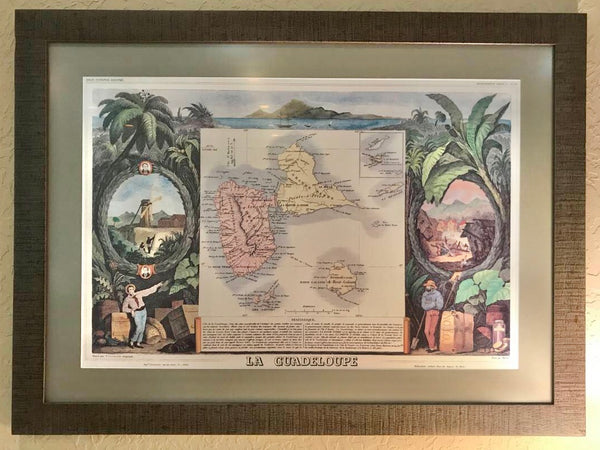 VINTAGE LA GUADELOUPE NATIONAL ATLAS MAP BY RUE DE NEYERS POSTER