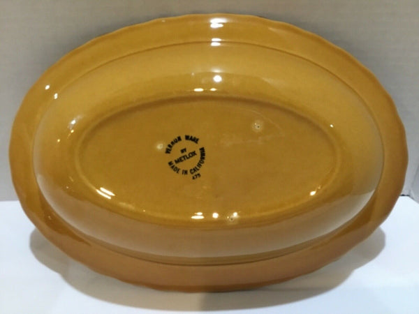 METLOX VERNON WARE SAN FERNANDO GOLD DIVIDED OVAL SERVING BOWL POPPY TRAIL