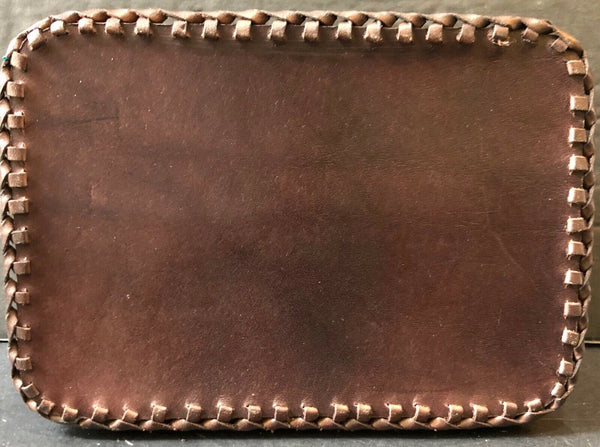 "LEATHER TRINKET BOX WITH 2 FLIP TOP LIDS 6.5"" (POLAND)"