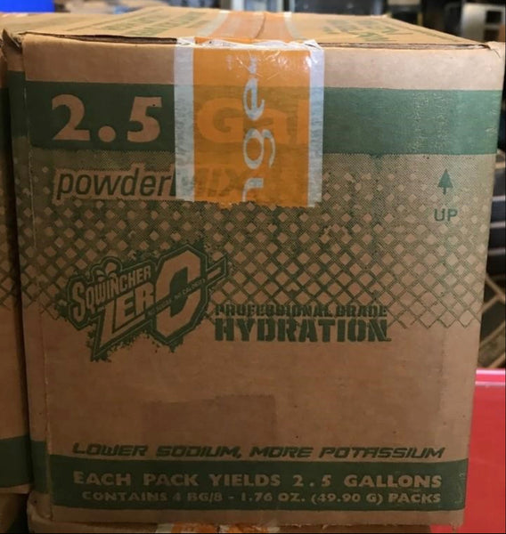 BOX OF (4) 8-PACK SQWINCHER ZERO ORANGE ELECTROLYTE REPLINISHMENT POWDER PACKS 2.5 GALLONS EACH (TOTAL 32 PACKETS)