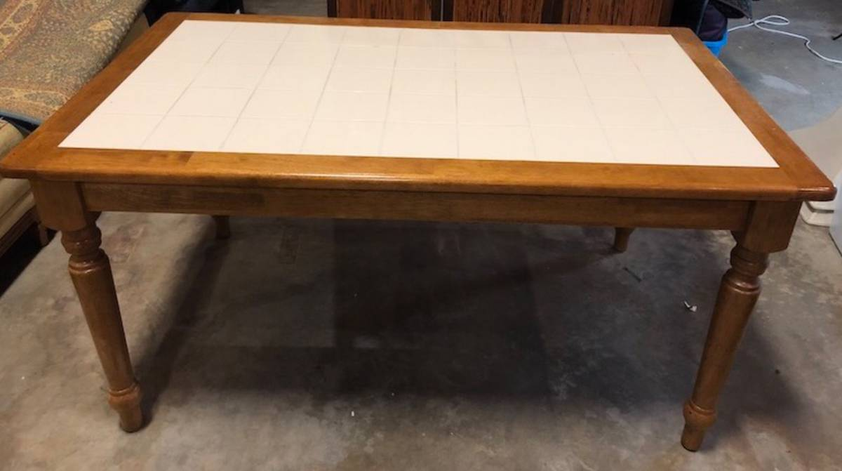 FARMHOUSE STYLE TABLE WITH TILE TOP