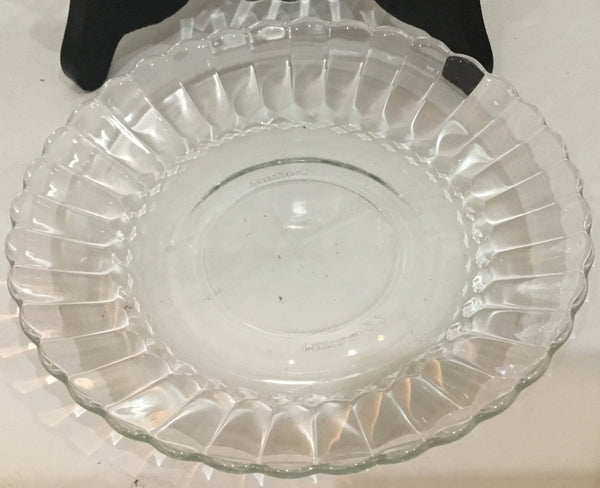 "SET OF (2) VTG FORTECRISA CLEAR GLASS FLUTED 5.5"" PLATES (MEXICO)"