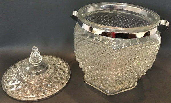 CUT GLASS DIAMOND PATTERN ICE BUCKET WITH LID AND SILVER METAL HANDLE