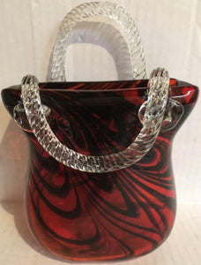Beautiful Murano Style Art Glass Red Purse