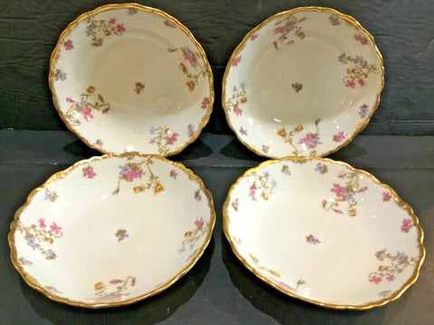 SET OF (4) BAWO & DOTTER LIMOGES ELITE WORKS BWO29 FLOWERS BOWLS