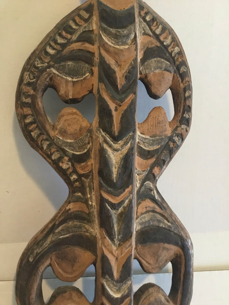 20th Century African Tribal Basket Hook Carved Wood From Papua New Guinea