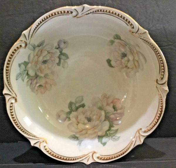 "LARGE 9"" PORCELAIN BOWL WITH FLORAL PATTERN AND GOLD GILT RIM"