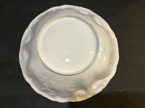 LARGE PORCELAIN DECORATIVE BOWL WITH ROSES PATTERN (UNMARKED)