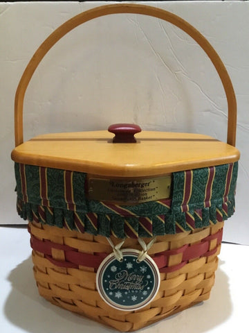 1997 LONGABERGER SNOWFLAKE 6-SIDED BASKET COMBO WITH LID