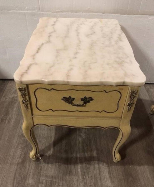FRENCH PROVINCIAL SIDE TABLE WITH MARBLE TOP AND A DRAWER