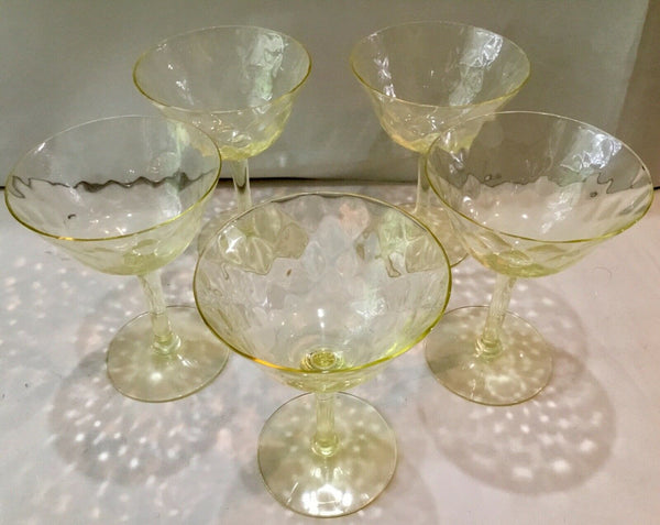 SET OF (5) YELLOW DEPRESSION STEMMED SHERBET CHAMPAGNE GLASSES