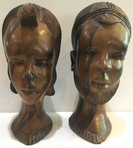 SET OF (2) AFRICAN HAND CARVED OLIVE WOOD MAN & WOMAN HEADS BUSTS SCULPTURES 9""