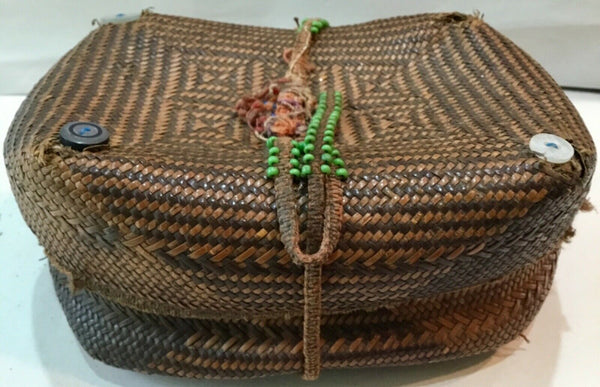 "ANTIQUE WOVEN COVERED SEWING BASKET TRINKET CONTAINER 7""x5""x3"""