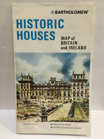 1982 HISTORIC HOUSES MAP OF BRITAIN AND IRELAND BY BARTHOLOMEW