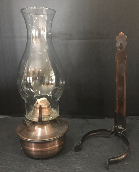 Oil Lamp with Wall Mount Bracket and Glass Shade