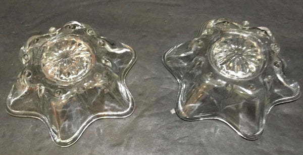 SET OF (2) VTG CLEAR CUT GLASS STAR SHAPED TAPERED CANDLE HOLDERS 4-3/8""
