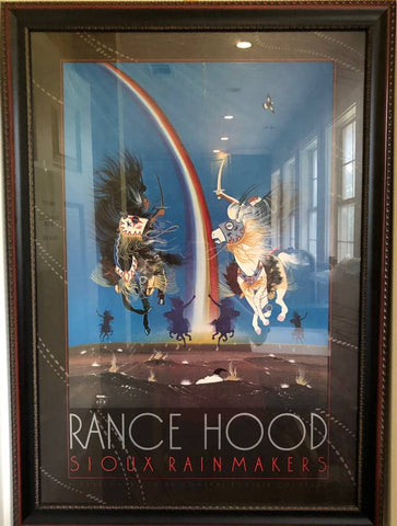 "1972 RANCE HOOD SIOUX RAIN MAKERS 74"" FRAMED LITHOGRAPH POSTER"