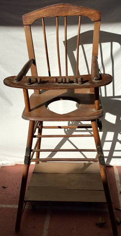 Antique Wooden High Chair Potty Chair with Folding Legs