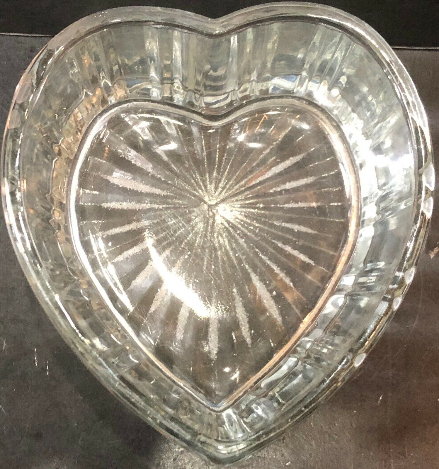 Heart Shaped Ribbed Glass Bowl