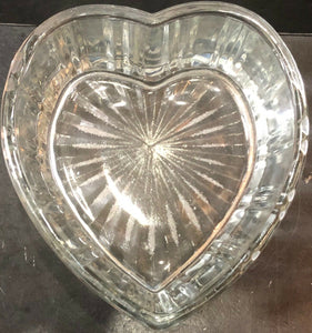 HEART SHAPED RIBBED GLASS BOWL (HEAVY)