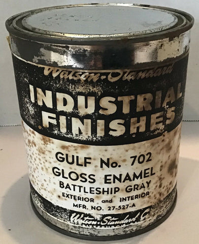 WATSON STANDARD IND. FINISHES GULF NO. 702 GLOSS ENAMEL BATTLESHIP GRAY CAN
