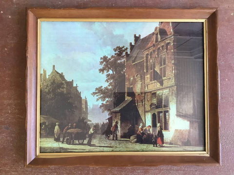 "CITY VIEW BY CORNELIUS SPRINGER 16""x20"" FRAMED LITHOGRAPH"