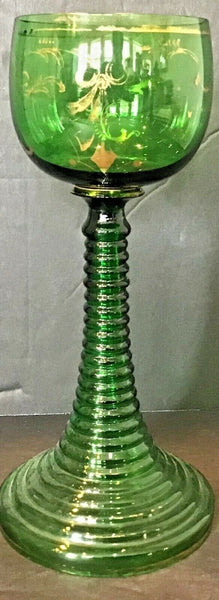 GREEN CLEAR GLASS UNIQUE STEMMED GLASS