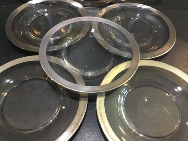 SET OF (8) CLEAR GLASS PLATES WITH SILVER RIMS