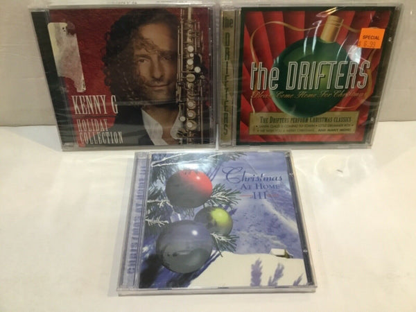 LOT OF (3) NEW CHRISTMAS MUSIC CD'S KENNY G. THE DRIFTERS & CHRISTMAS AT HOME