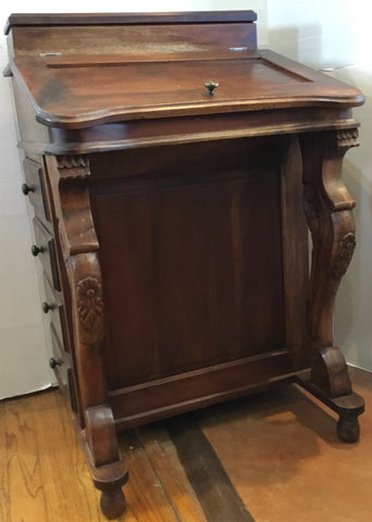 Antique English Walnut Davenport Desk
