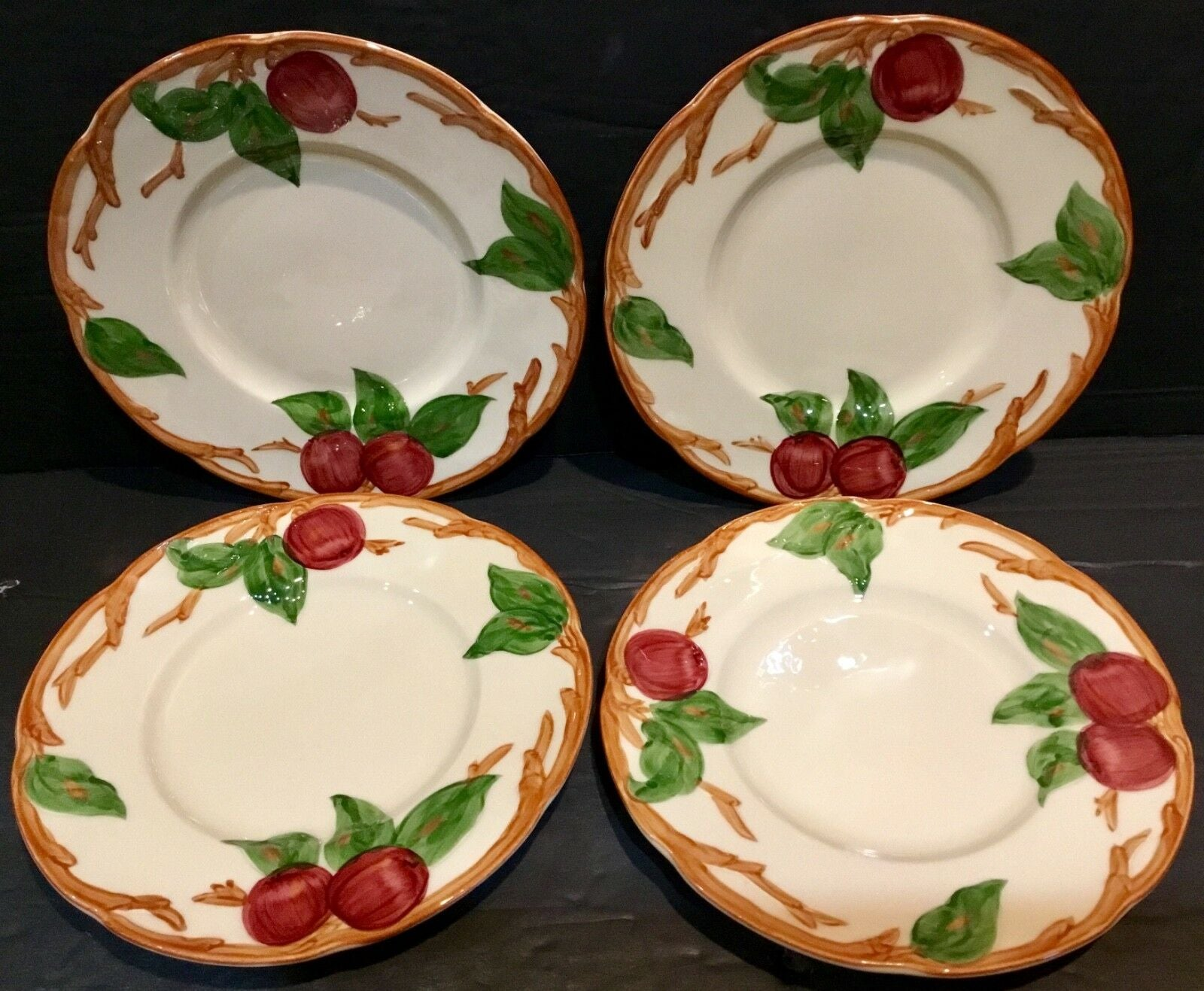 "SET OF (4) FRANCISCAN APPLE PATTERN 6.25"" BREAD PLATES USA"