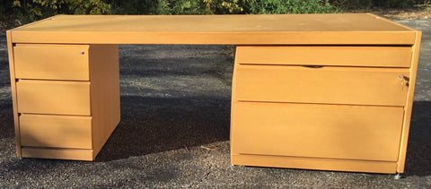 VINTAGE KRUG MID-CENTURY STYLE OAK DESK WITH LOCKING DRAWERS