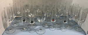 19-PIECE STEMWARE SET WITH 8 WINE GOBLETS, 7 CHAMPAGNE FLUTES & 4 CORDIALS