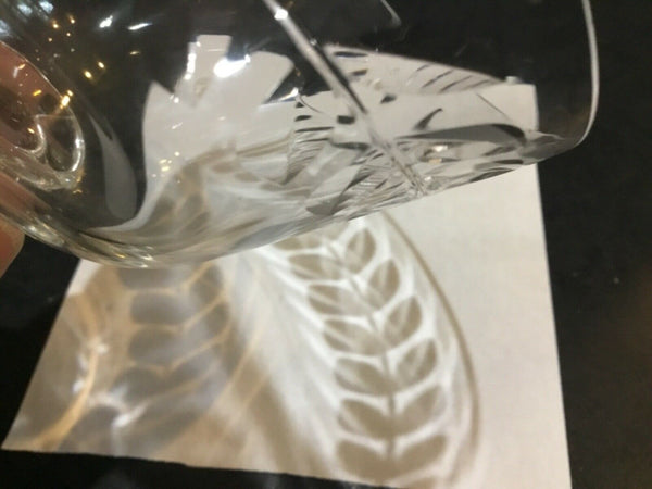 "SET OF (4) ETCHED LEAF SQUARE STEM DESIGN 4.75"" PARFAIT GLASSES"