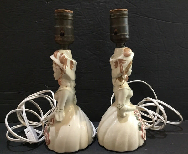 SET OF (2) PORCELAIN LADY VICTORIAN WOMAN ELECTRIC BOUDOIR TABLE LAMPS