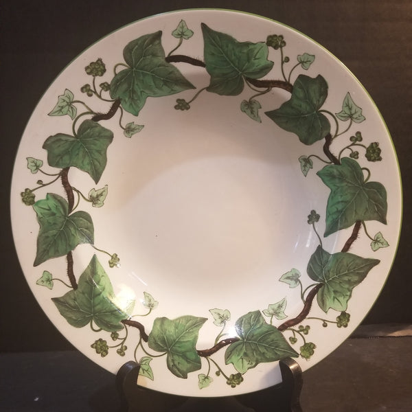 Wedgwood Etruia England Napolian Ivy Green Queens Ware Wide Rimmed Soup Bowl