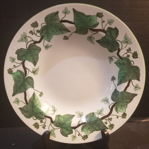 WEDGWOOD ETRUIA ENGLAND NAPOLEON IVY GREEN QUEENS WARE WIDE RIMMED SOUP BOWL