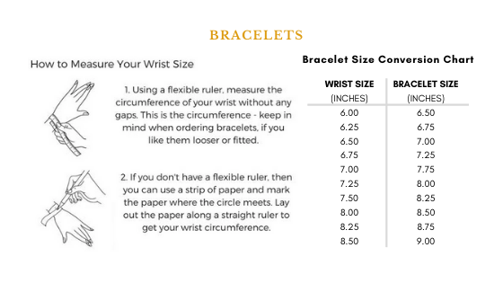Bracelet Size Guide Chart, How To Measure Your Wrist